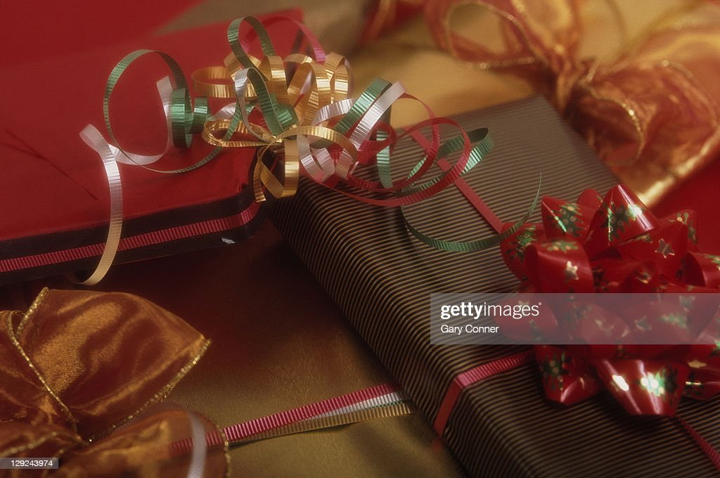 Wrapped Christmas presents : Stock Photo