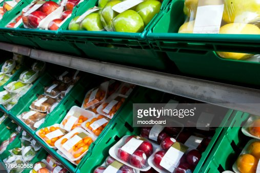 Wrapped Fruits in Street Market : Stock Photo