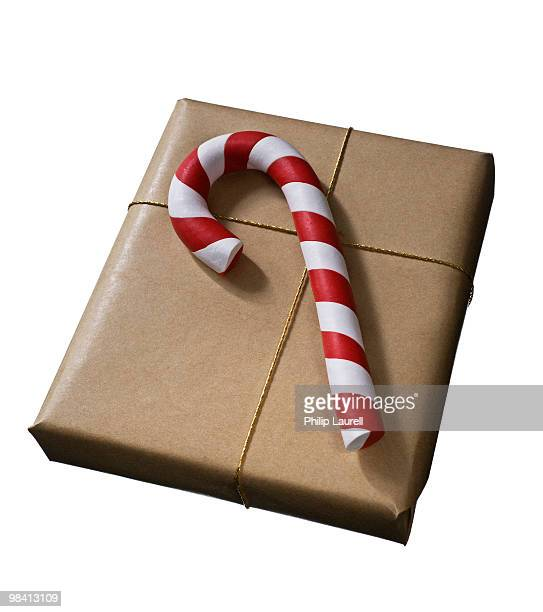 A wrapped gift against a white background.