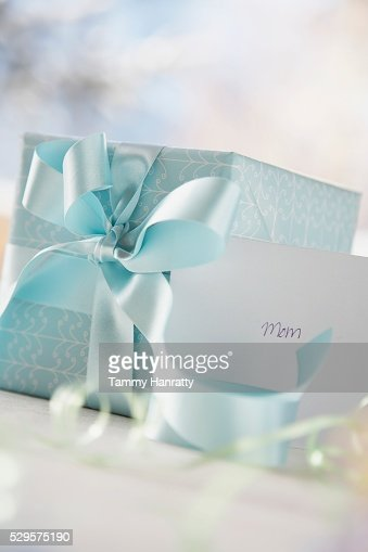Wrapped Gift and Greeting Card : Stock Photo