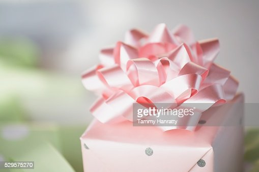Wrapped Gift with a Pink Bow : Foto de stock