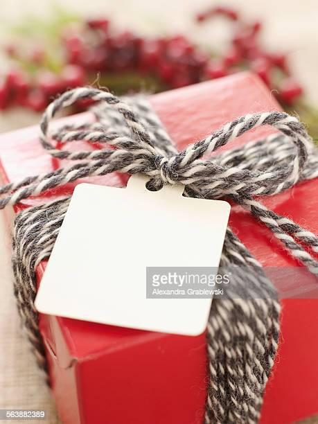 Wrapped Gift with Blank Tag