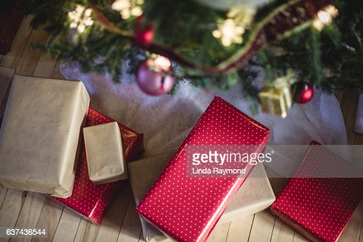wrapped gifts under a Christmas tree