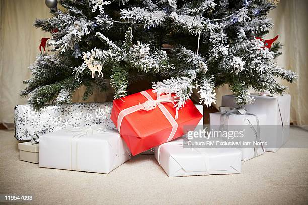 Wrapped gifts underneath Christmas tree