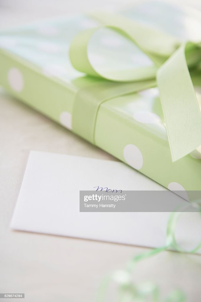 Wrapped Present and Greeting Card : Stock Photo