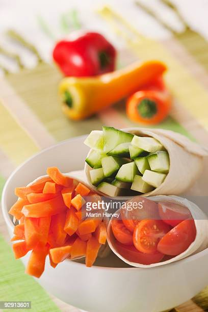 Wraps filled with different vegetables.