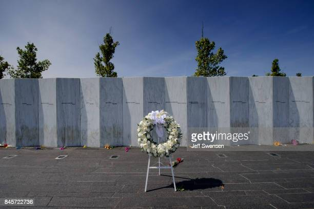 A wreath at the Flight 93 National Memorial on the 16th Anniversary ceremony of the September 11th terrorist attacks September 11 2017 in Shanksville...