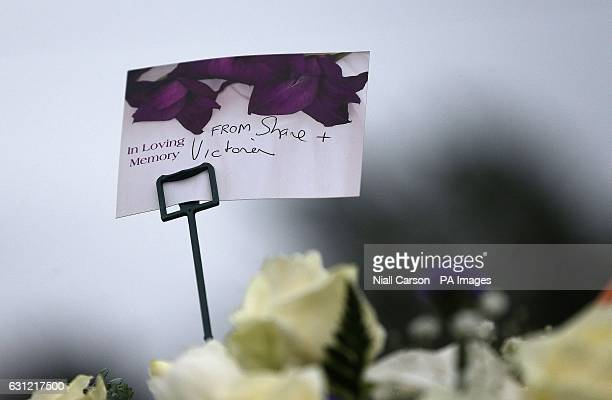 A wreath from Shane MacGowan and his partner Victoria at the funeral of Shane MacGowan's mother Therese MacGowan takes place at Our Lady of Lourdes...