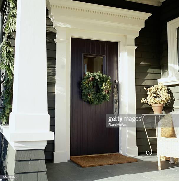 Wreath hanging on front door