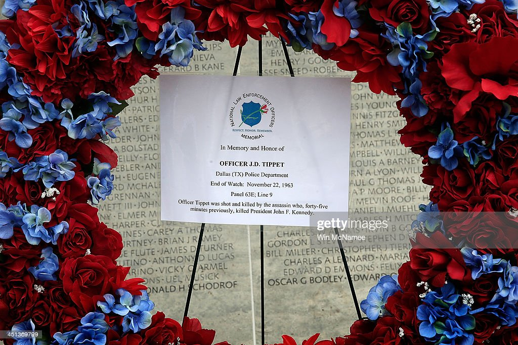 A wreath honoring Dallas Police Officer J.D. Tippit is placed at the National Law Enforcement Officers Memorial November 22, 2013 in Washington, DC. Tippit was shot and killed by Lee Harvey Oswald when the police officer stopped to question Oswald following the assassination of U.S. President John F. Kennedy 50 years ago today.