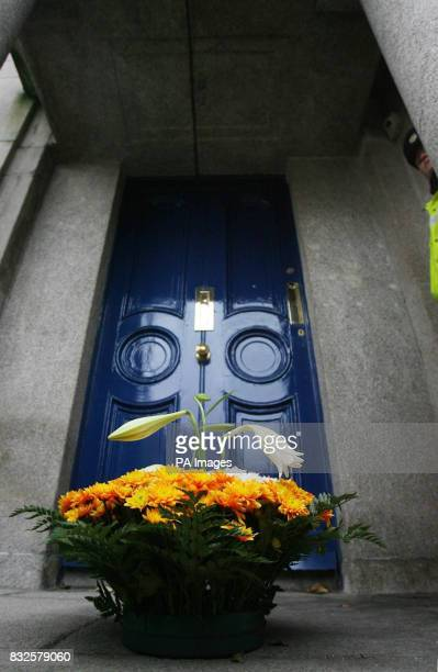 A wreath in memory of Ken Sarowiwa is left by Shell to sea campaign protestsoutside Shell oil headquarters in Dublin