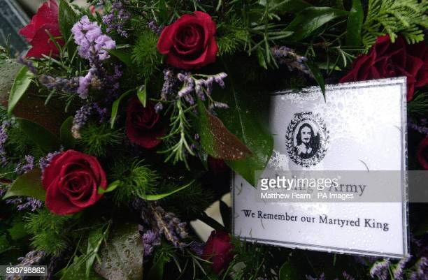 A wreath including roses the traditional flower of England sits in London's Whitehall after being placed by a member of the King's Army The Army...