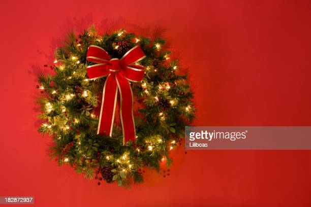 Wreath Isolated on Red