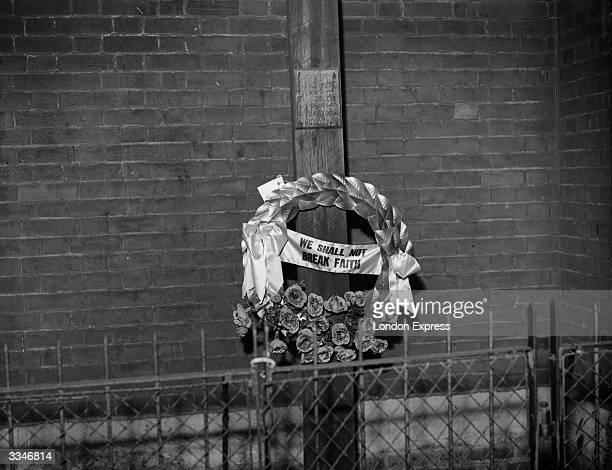 A wreath laid by exservicemen from Bethnal Green London