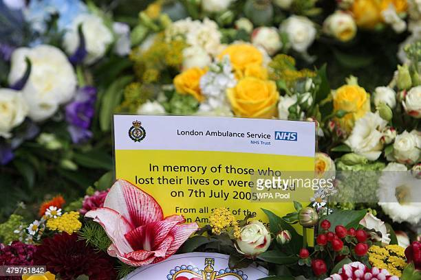 A wreath laid by London Ambulance Service is left at the July 7 memorial in Hyde Park on July 7 2015 in London England Today is the tenth anniversary...