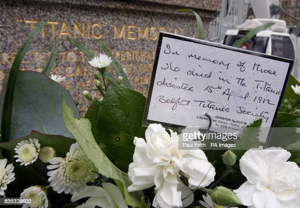 A wreath laid in memory of the hundreds who died in the infamous sinking of the Titanic in Belfast City Hall Belfast