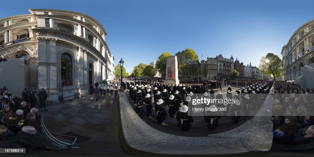 A wreath laying ceremony is held in Whitehall on November 10, 2013 in London, United Kingdom. People across the UK gathered to pay tribute to service personnel who have died in the two World Wars and subsequent conflicts, as part of the annual Remembrance Sunday ceremonies.