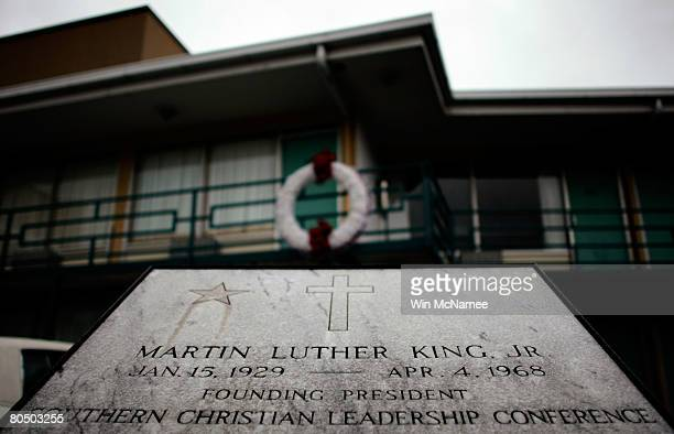 A wreath marks the location where Martin Luther King Jr was shot to death on the second floor of the Lorraine Hotel now part of the National Civil...