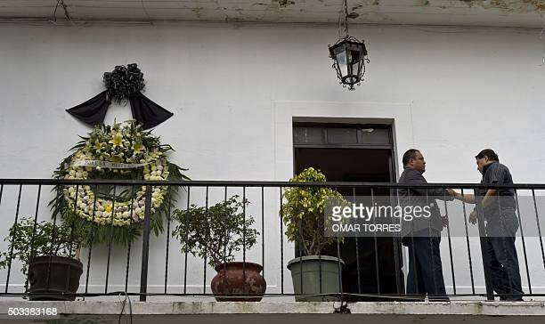 A wreath of flowers with a black ribbon is seen at Temixco's city hall in honour of Gisela Mota the mayor who was gunned down a day after taking...