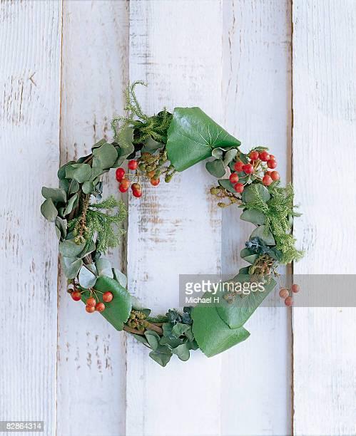 Wreath of galax and eucalyptus on wood wall