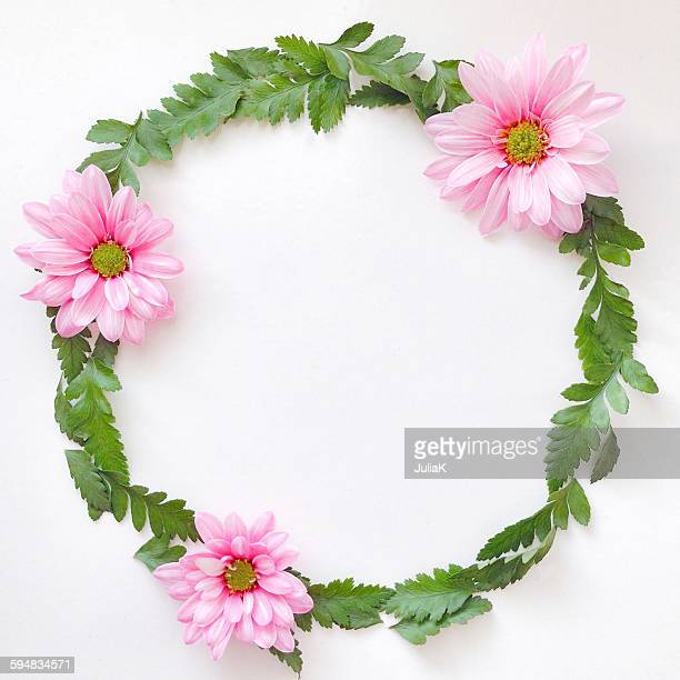 Wreath of pink flowers and leaves