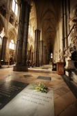 A wreath of plants from Charles Darwin's garden lie on his grave on the 200th anniversary of his birth at Westminster Abbey on February 12 2009 in...