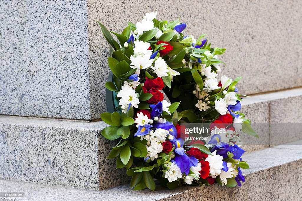 Wreath of red, white and blue flowers, copy space