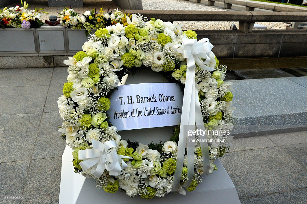 A wreath offered by U.S. President Barack Obama is seen at the cenotaph at the Hiroshima Peace Memorial Park on May 27, 2016 in Hiroshima, Japan. Obama becomes the first sitting U.S. president to visit Hiroshima, where the first atomic bomb was dropped in 1945 at the end of World War II.