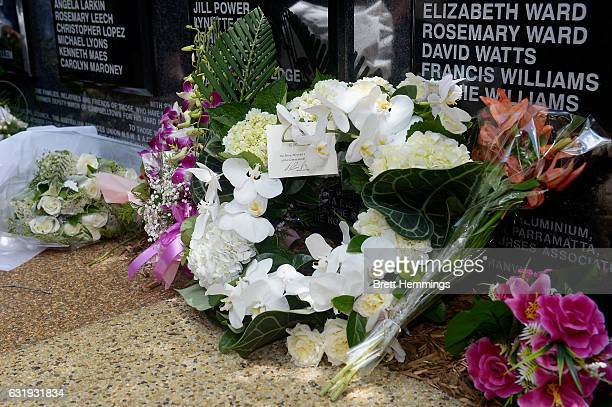 A wreath placed by Prime Minister of Australia Malcolm Turnbull and Ms Lucy Turnbull is pictured during the 40th anniversary memorial service for the...