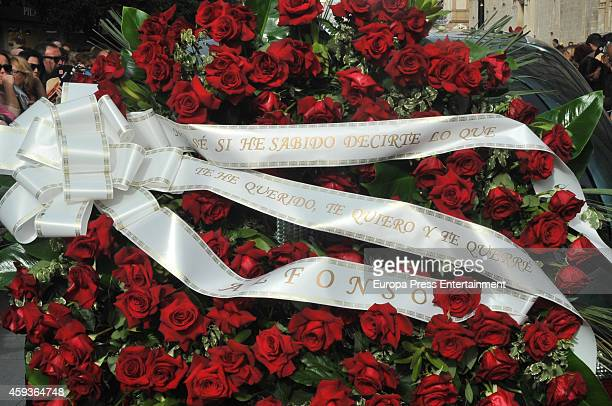A wreath sent by Alfonso Diez Carabantes husband of the Duchess of Alba is seen during a funeral service for the Duchess of Alba on November 21 2014...