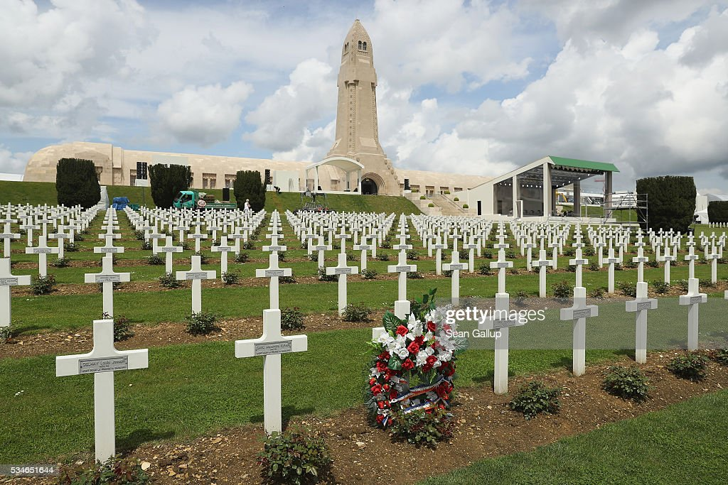 A wreath stands among one of the thousands of crosses marking the graves of French soldiers killed in the Battle of Verdun at the ossuary of Douaumont on May 27, 2016 in Verdun, France. The governments of France and Germany will commemorate the 100th anniversary of the battle with ceremonies this coming Sunday. Approximately 300,000 soldiers lost their lives in the 10-month campaign that was among the most grueling battles of the war.