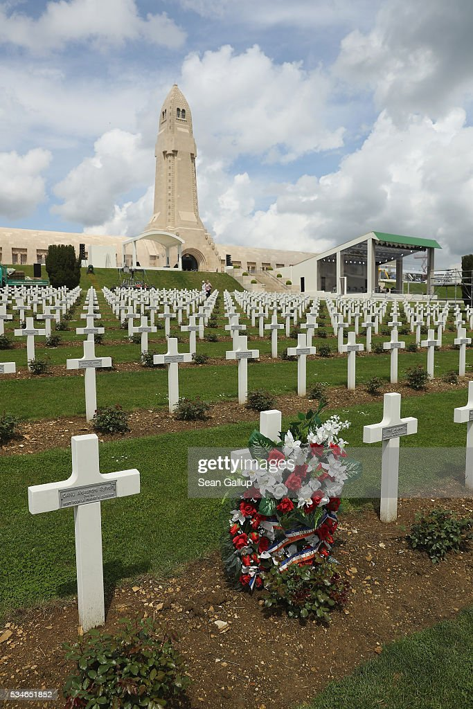 A wreath stands among one of the thousands of crosses marking the graves of French soldiers killed in the World War I Battle of Verdun at the ossuary of Douaumont on May 27, 2016 in Verdun, France. The governments of France and Germany will commemorate the 100th anniversary of the battle with ceremonies this coming Sunday. Approximately 300,000 soldiers lost their lives in the 10-month campaign that was among the most grueling battles of the war.
