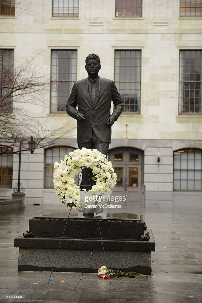 A wreath stands at the site of the John F. Kennedy statue at the State House November 22, 2013 in Boston, Massachusetts. Kennedy, born in Brookline Massachusetts, was killed 50 years ago on this day by Lee Harvey Oswald in Dallas Texas in 1963.