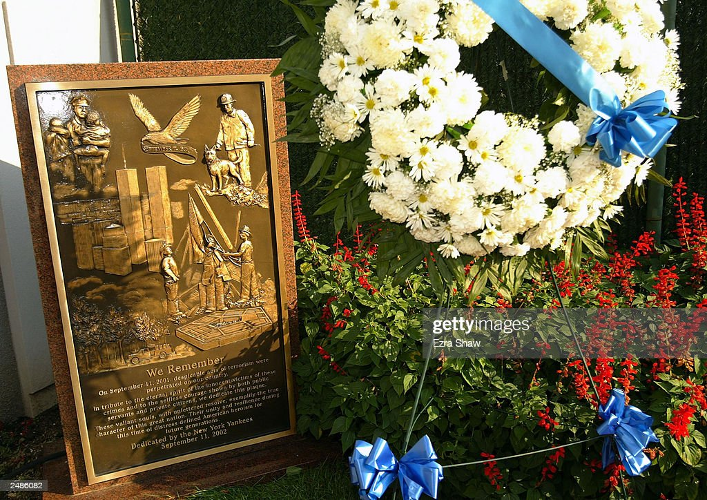 A wreath was placed by the monument for September 11, 2001 in monument park in Yankee Stadium before the MLB game between the New York Yankees and the Detroit Tigers on September 11, 2003 in the Bronx, New York.