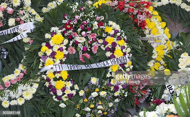 A wreath with the sentence 'You Were My Hope' adorns the grave of Gisela Mota the mayor who was gunned down a day after taking office at Temixco's...