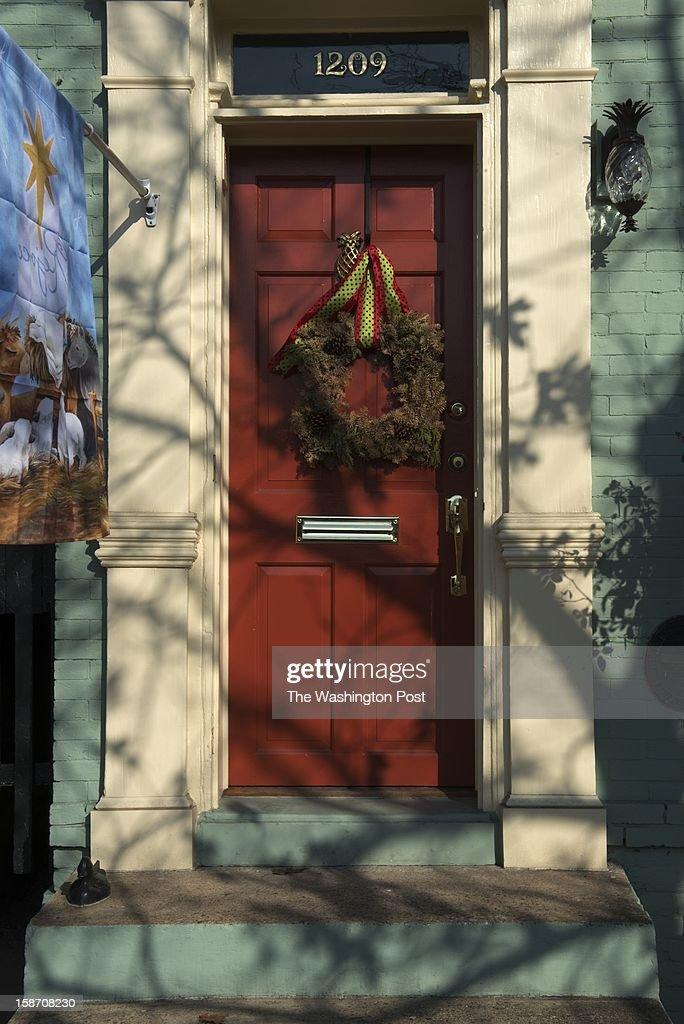 Wreaths adorn doors in the Old Town area of Alexandria, VA on Dec. 19.