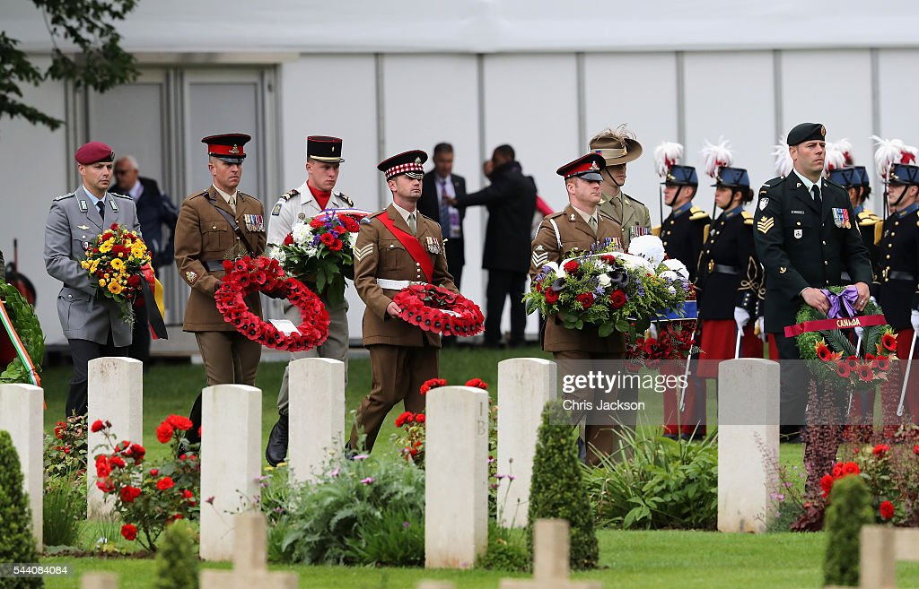 Wreaths are bought forward to be placed during Somme Centenary Commemorations on July 1, 2016 in Thiepval, France. Today marks exactly 100 years since the beginning of the battle of the Somme.