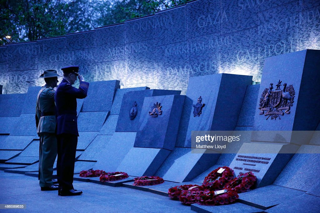 Wreaths are laid at the Australian War Memorial during a dawn remembrance service at the Wellington Arch on ANZAC Day at Hyde Park on April 25, 2014 in London, England. It is the 99th anniversary of the Galipoli landings in which tens of thousands of servicemen died.