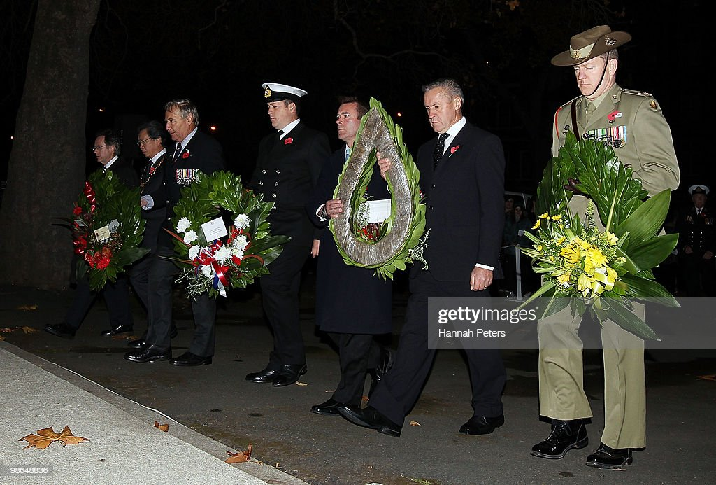 Wreaths are laid during the ANZAC Day Dawn Service on April 25, 2010 in Dunedin, New Zealand. Veterans, dignitaries and members of the public today marked the 95th anniversary of ANZAC (Australia New Zealand Army Corps) Day, when First World War troops landed on the Gallipoli Peninsula, Turkey early April 25, 1915, commemorating the event with ceremonies of remembrance for those who fought and died in all wars.