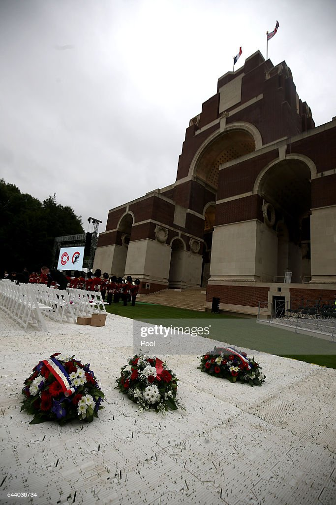 Wreaths are left near to theThiepval Museum ahead of the 100th anniversary of the beginning of the Battle of the Somme at the Thiepval memorial to the Missing on July 1, 2016 in Thiepval, France. The event is part of the Commemoration of the Centenary of the Battle of the Somme at the Commonwealth War Graves Commission Thiepval Memorial in Thiepval, France, where 70,000 British and Commonwealth soldiers with no known grave are commemorated.
