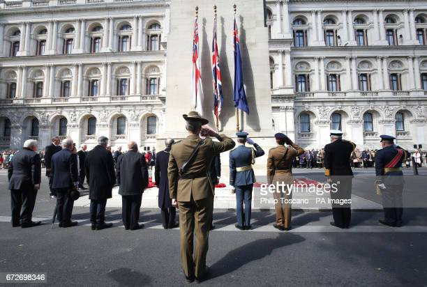 Wreaths being laid at the Cenotaph in London during Anzac Day commemorations marking the anniversary of the first major military action fought by...