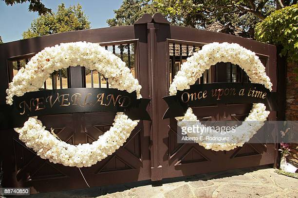 Wreaths hanges on the entrance at Michael Jackson's Neverland Ranch on June 28 2009 in Los Olivos California