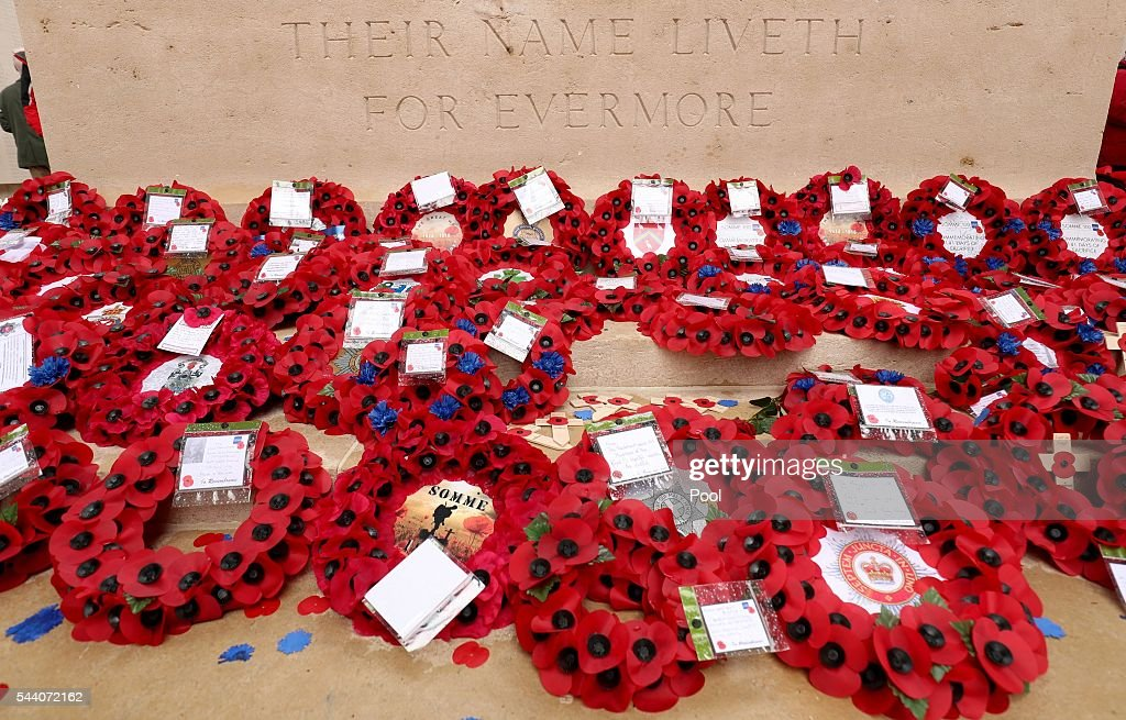 Wreaths laid after a service to mark the 100th anniversary of the start of the battle of the Somme at the Commonwealth War Graves Commission Memorial on July 1, 2016 in Thiepval, France. The event is part of the Commemoration of the Centenary of the Battle of the Somme at the Commonwealth War Graves Commission Thiepval Memorial in Thiepval, France, where 70,000 British and Commonwealth soldiers with no known grave are commemorated.