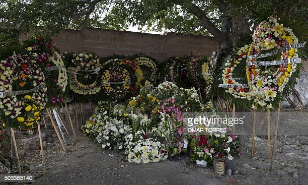 Wreaths of flowers adorn the grave of Gisela Mota the mayor who was gunned down a day after taking office at Temixco's cemetery Morelos State Mexico...