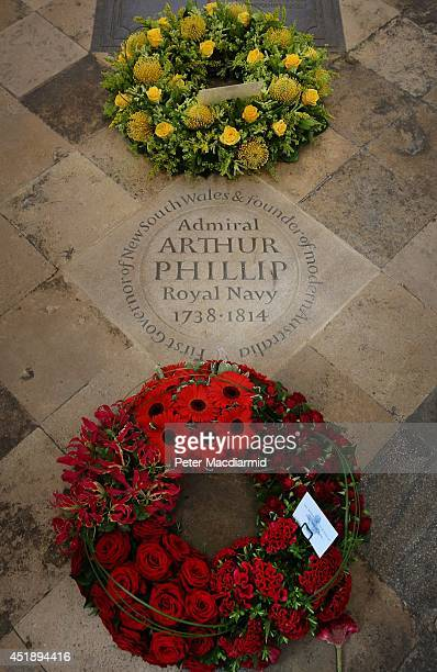 Wreaths surround a new memorial stone to Admiral Arthur Philip at Westminster Abbey on July 9 2014 in London England Arthur Phillip was the...