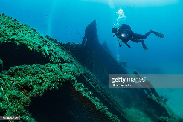 Wreck diving over a shipwreck Scuba diver point of view