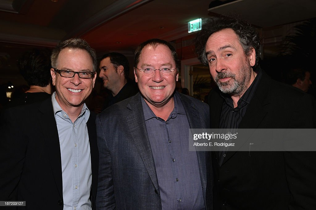 'Wreck- It Ralph' director Rich Moore, chief creative officer of Walt Disney and Pixar Animation Studios <a gi-track='captionPersonalityLinkClicked' href=/galleries/search?phrase=John+Lasseter&family=editorial&specificpeople=224003 ng-click='$event.stopPropagation()'>John Lasseter</a> and 'Frankenweenie' director <a gi-track='captionPersonalityLinkClicked' href=/galleries/search?phrase=Tim+Burton&family=editorial&specificpeople=206342 ng-click='$event.stopPropagation()'>Tim Burton</a> attend Walt Disney Studios 2012 animation celebration at The Beverly Hills Hotel on November 29, 2012 in Beverly Hills, California.