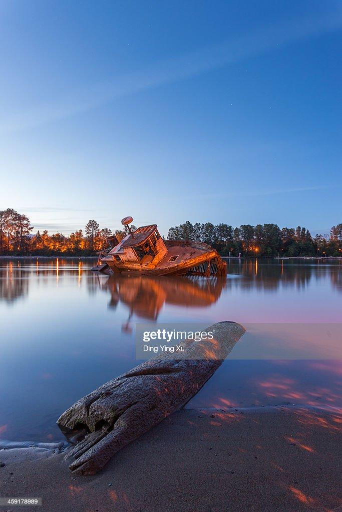 Wreck of 'Pine Leaf' on Fraser River