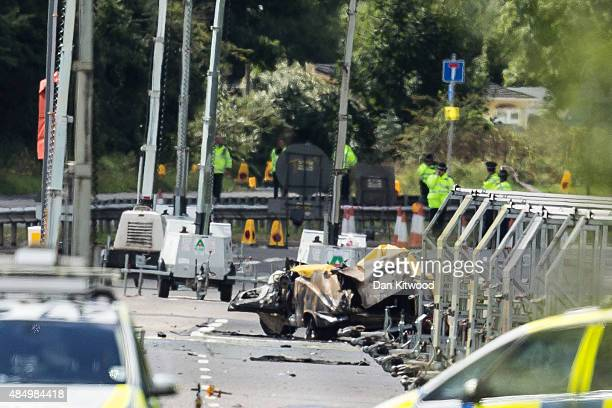 Wreckage near the site where a Hawker Hunter fighter jet crashed on August 23 2015 in Shoreham England The aircraft came down while performing at the...