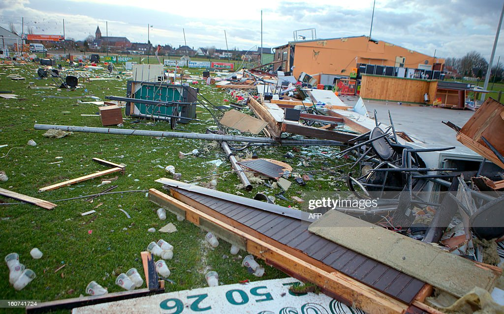 Wreckages from a soccer field damaged by a whirlwind is seen in the village of Oosterzele, East-Flanders, on February 5, 2013. SCHEIRE -Belgium Out-